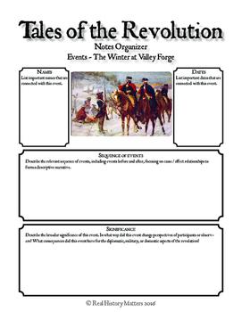 American Revolution Graphic Organizers - 20 Events