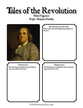 American Revolution Graphic Organizers - 20 People