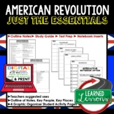 American Revolution Outline Notes, American Revolution Bullet Notes, Unit Review