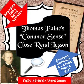"American Revolution: Paine's ""Common Sense"" Student ..."