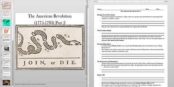 American Revolution Patriots and Loyalists Powerpoint AND Notes Worksheet