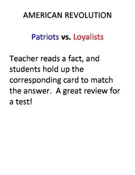 American Revolution: Patriots or Loyalists