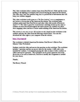 American Revolution: Paul Revere's Ride in Four Minutes Video Worksheet