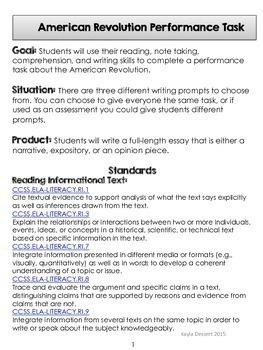 American Revolution Performance Task- Now With Editable Google Docs!
