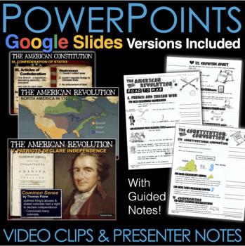 American Revolution PowerPoint w/Video Clips+Presenter Notes(Revolutionary War)