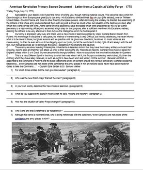 American Revolution Primary Source: Letter from Valley Forge w/ guiding Qs