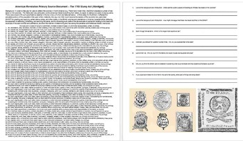 American Revolution Primary Source: The Stamp Act w/ guiding Qs