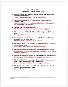 American Revolution Primary Source Worksheet: John Paul Jones