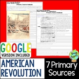 American Revolution Primary Sources; Distance Learning; Di