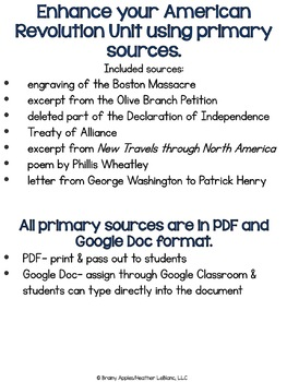American Revolution Primary Sources, US Revolutionary War Primary Documents