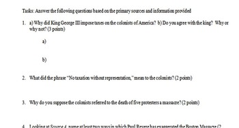 American Revolution Primary and Secondary Source Assignment
