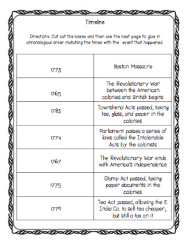American Revolution Printable Bundle: Boston Tea Party, Declaration, Paul Revere