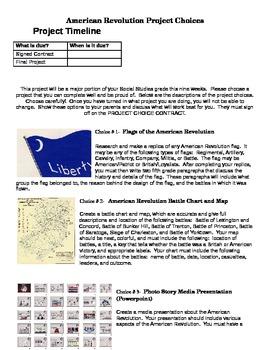 American Revolution Project for Fifth Grade