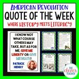 American Revolution - Task Cards & Literacy Strategies