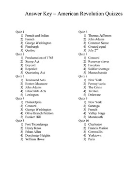 American Revolution Quiz Pack - x10 quizzes with answer key!