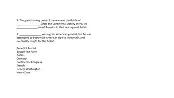 American Revolution Quiz and Answer Key