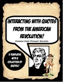 American Revolution Quote Activity Bundle Working with Pri