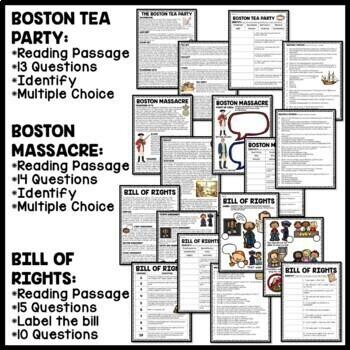 American Revolution Reading Comprehension Bundle; Revolutionary War
