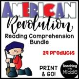 American Revolution Reading Comprehension Worksheet Bundle