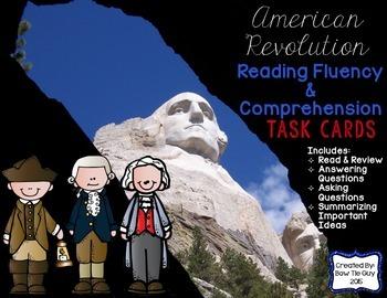 American Revolution Reading Comprehension & Fluency Task Cards