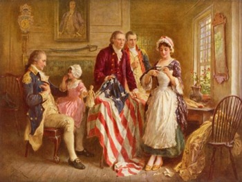 """American Revolution - Recreate """"Betsy Ross, 1777 - First American Flag"""" Painting"""