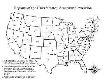 American Revolution Regions Activity