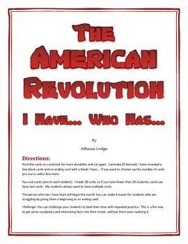 American Revolution- Revolutionary War I Have Who Has