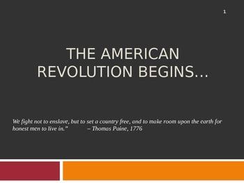 US History 8 American Revolution/ Revolutionary War PowerPoint