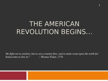 US History 8 American Revolution/ Revolutionary War PowerPoint
