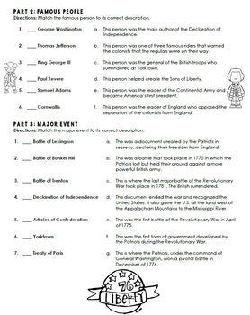 American Revolution Revolutionary War Quiz