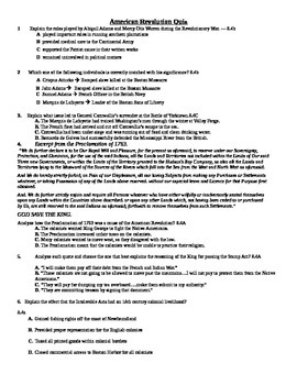American Revolution STAAR Formatted Quiz