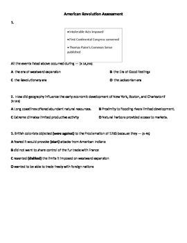 American Revolution STAAR formatted assessment
