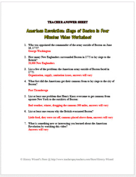 American Revolution: Siege of Boston in Four Minutes Video Worksheet