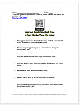 American Revolution: Small Arms in 4 Minutes Video Worksheet