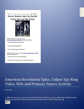 American Revolution Spies Video, Web and Primary Source Activity