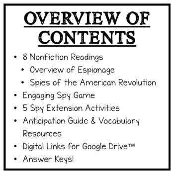 American Revolution Spy Unit: Spy Readings, Techniques, Vocab, Activities, Game!