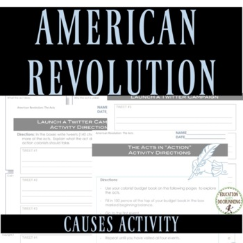 American Revolution Causes Station Activities - Stamp Act, Sugar Act and more