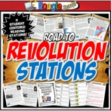 American Revolution Station Activity with Graphic Organizer Worksheets