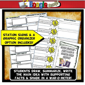 American Revolution Station Activity with Graphic Organizer Distance Learning