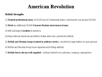 American Revolution-Strengths and Weaknesses of Both Sides
