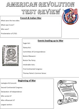 American Revolution Study Guide EDITABLE with Key
