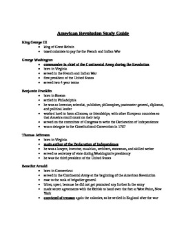 American Revolution Study Guide 4th Grade CC aligned