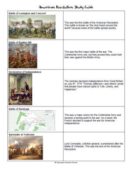 American Revolution Study Guide- English and Spanish Versions!