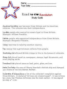 American Revolution Study Guide & Test