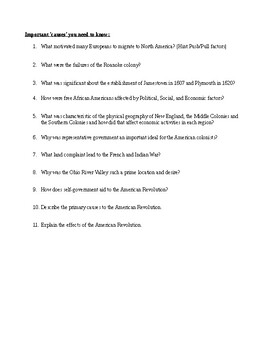 American Revolution Study Guide (week 8 lesson plans)