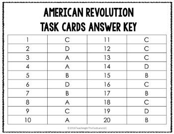 American Revolution Task Cards