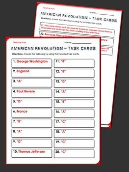 American Revolution - Task Cards - 28 Task Cards for the American Revolution