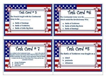American Revolution Task Cards -Social Studies