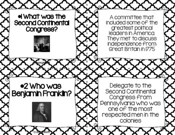 American Revolution Task Cards - Black and White