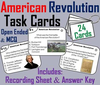American Revolution Task Cards/ Revolutionary War Task Cards